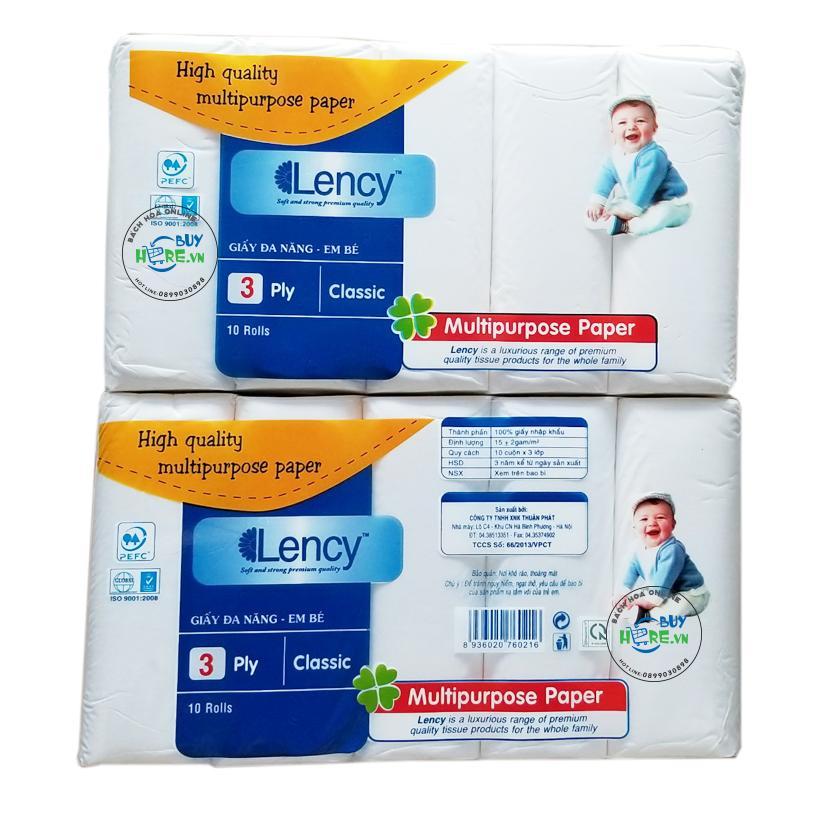 Giấy đa năng Lency baby 10 cuộn 3 lớp
