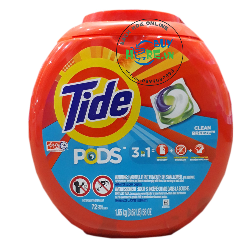 Viên giặt Tide PODS Clean Breeze  64oz - 72 Counts