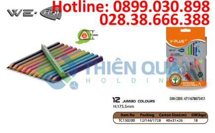 Bút chì màu gỗ WE FISH JUMBO,12 màu - Y PLUS+