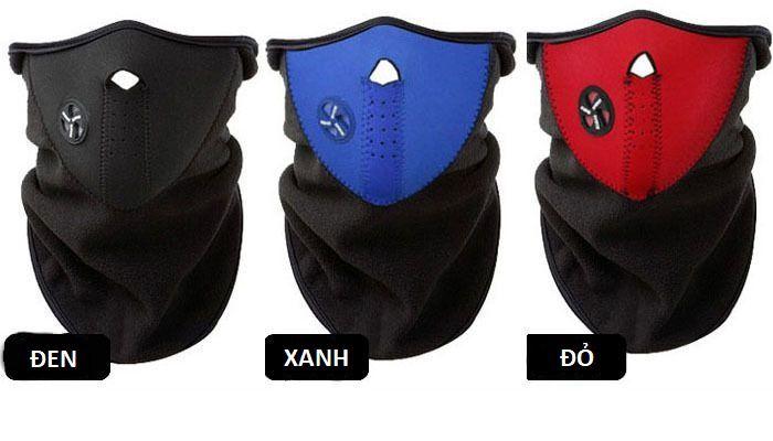 khẩu trang ninja phượt đen đỏ xanh