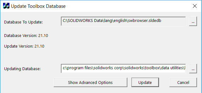 UPDATE SOLIDWORKS TOOLBOX