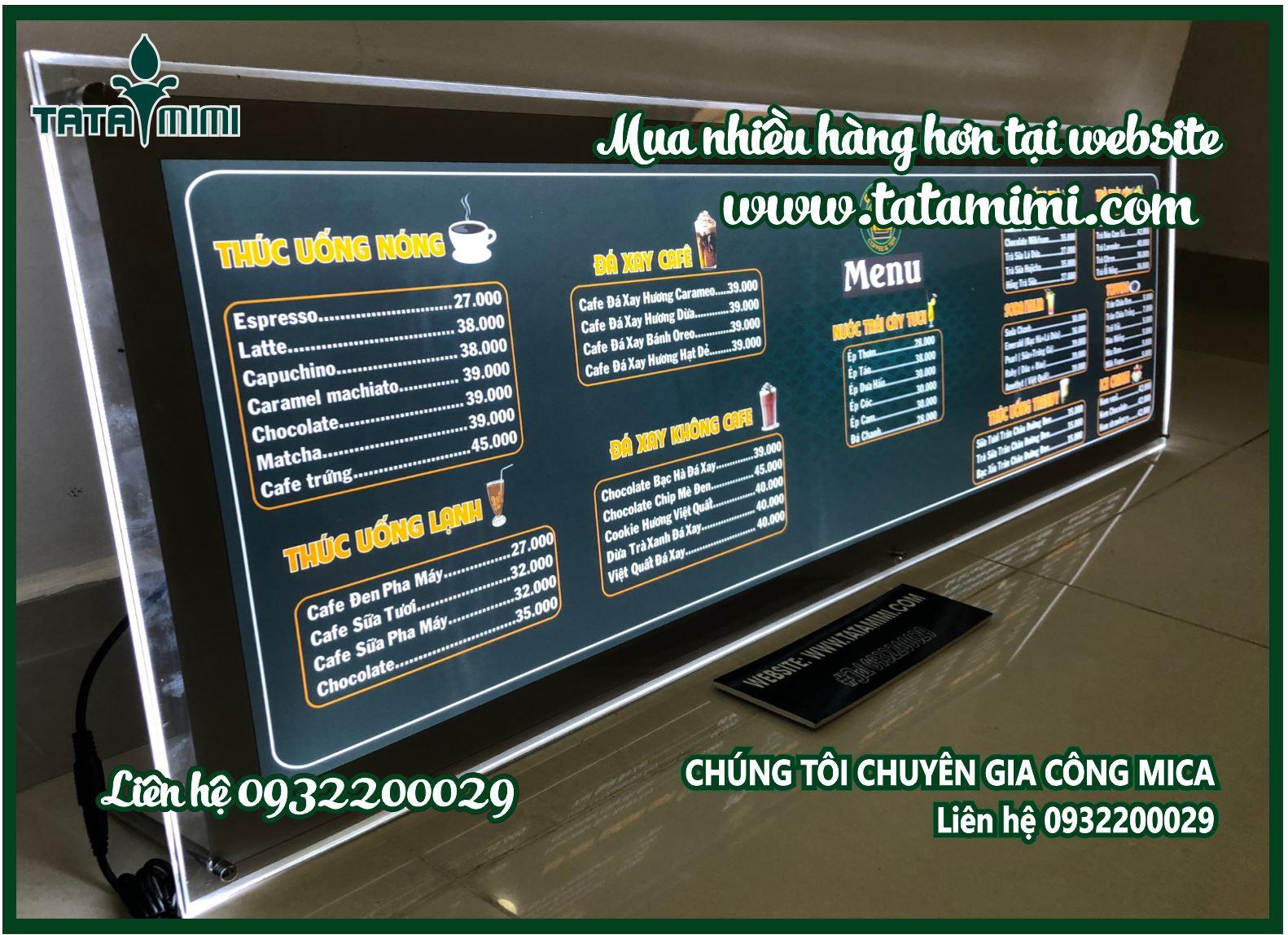 Thiết kế menu quán caffee