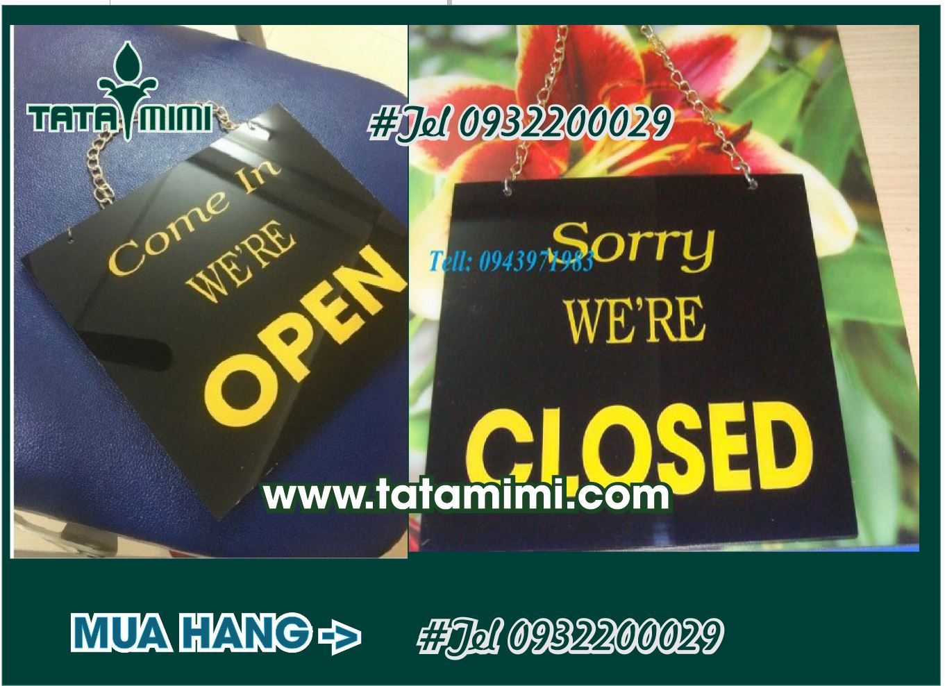 Nhiều mẫu biển open closed
