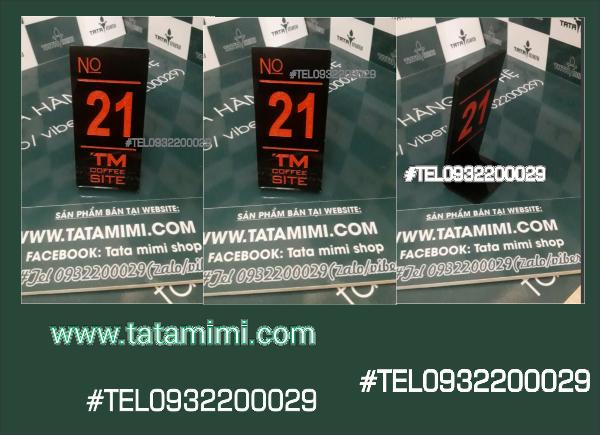 Biển số bàn màu đen TM coffee
