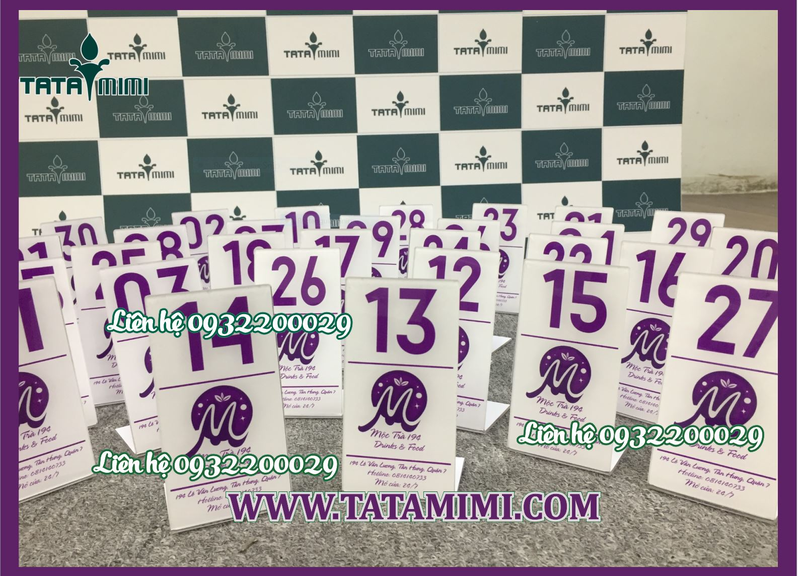 Biển số bàn màu tím