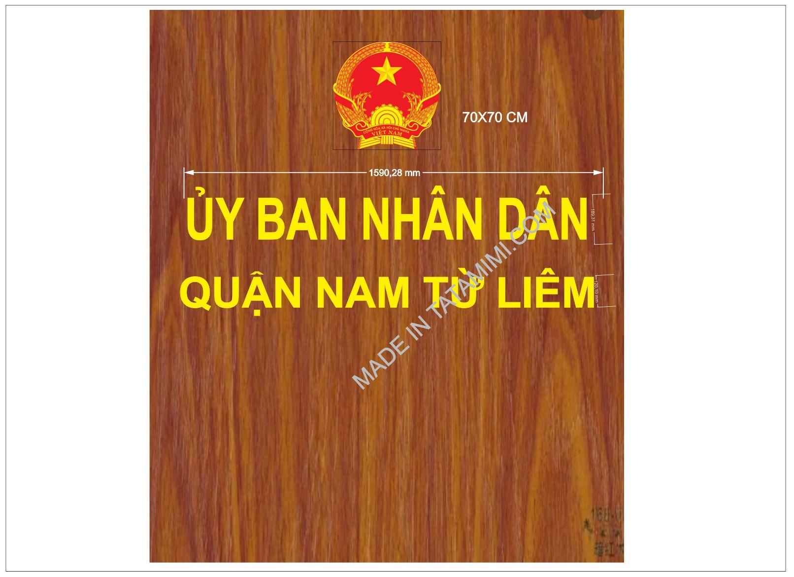 Ốp Alu Vân Gỗ ,Ốp Quốc Huy lên hội trường của ủy ban nhân dân