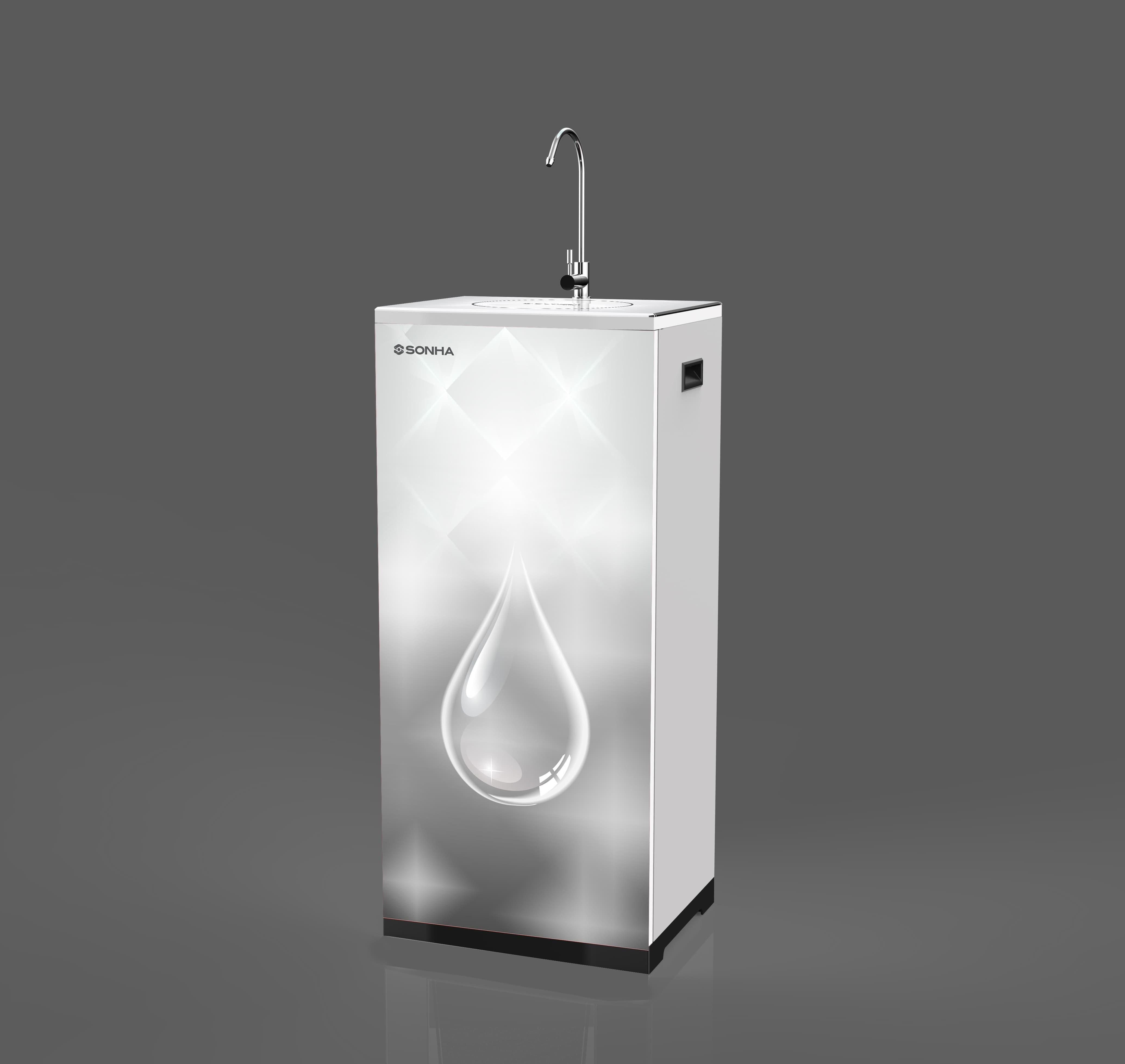 Máy lọc nước RO Sơn Hà Smart in 3D màu trắng - giọt nước 9 lõi lọc