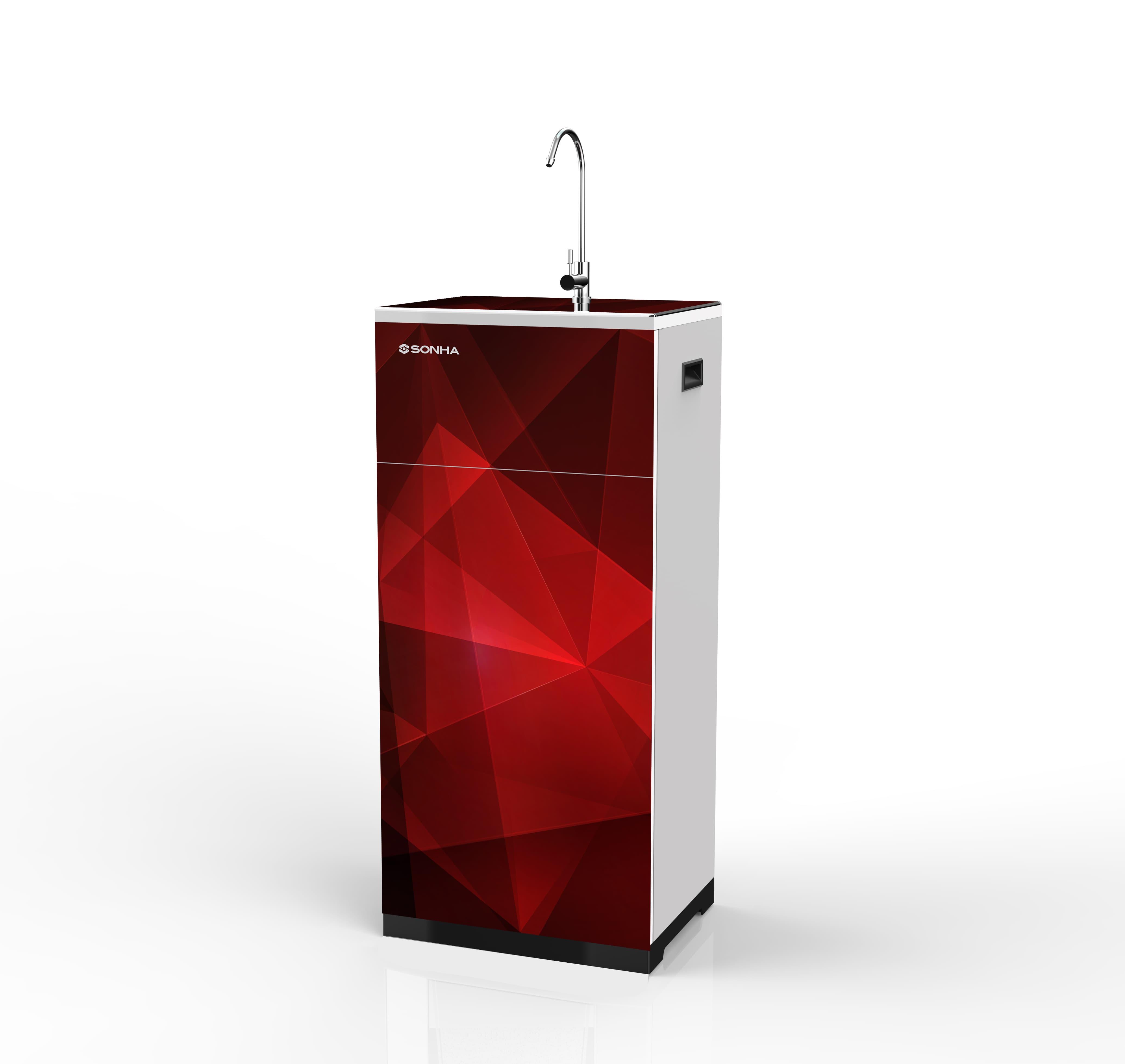 Máy lọc nước RO Sơn Hà Smart in 3D màu đỏ - giọt nước 10 lõi lọc