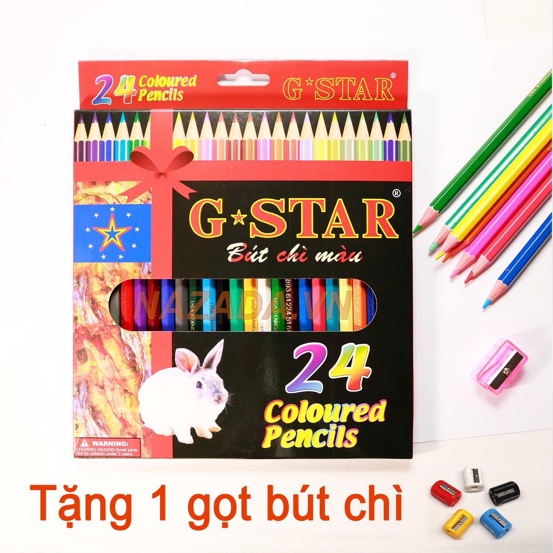 Hộp Bút Chì Màu G Star 24 Màu Tặng 1 Gọt Bút Chì Lezinvn
