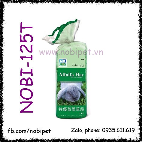 Alfalfa Hay Choppy 1kg Thức Ăn Cỏ Khô Cho Thỏ Kiểng Bọ Ú Nobi-125T