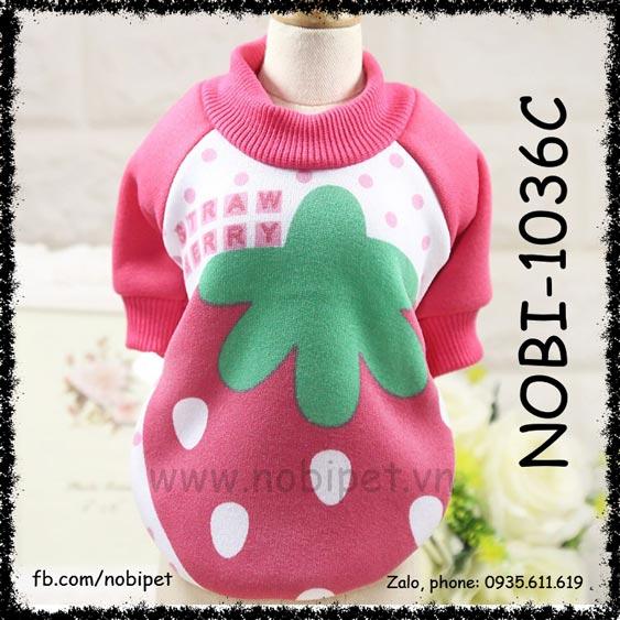 Áo Cho Chó Strawberry Thời Trang Ấm Thu Đông Nobi-1036C