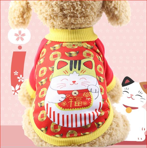 Áo Mèo May Mắn Cho Chó Mèo Chơi Tết NOBI-558C