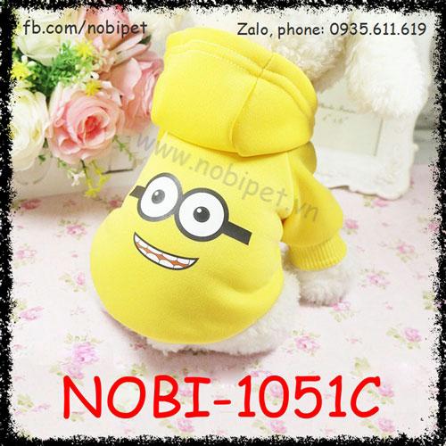 Áo thu đông Minion có mũ đội cho chó thời trang Nobi-1051C