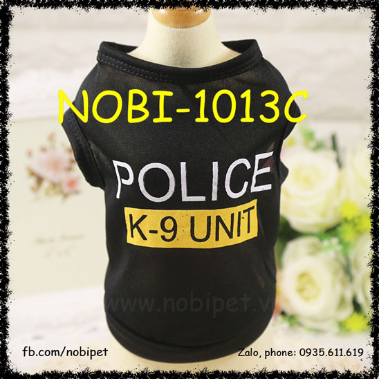Áo Thun Chữ Police Cho Chó Mặc Nobi-1013C