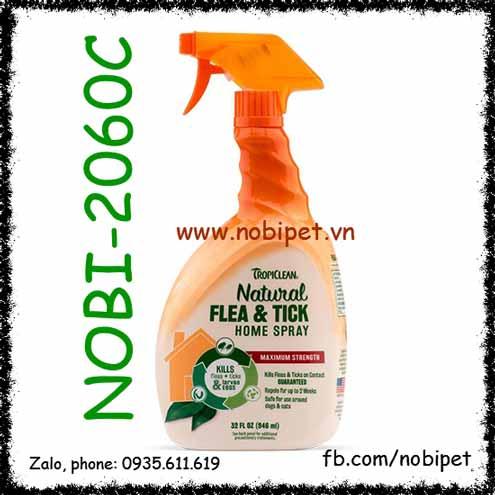 Bình Xịt TropiClean Natural Flea - Tick Home Spray Diệt Ve Rận Cho Chó