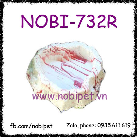 Chén Ăn Bàn Thạch Vân Đá Chỉ Đỏ Mỹ Thuật Cho Nhím Kiểng Nobi-732R