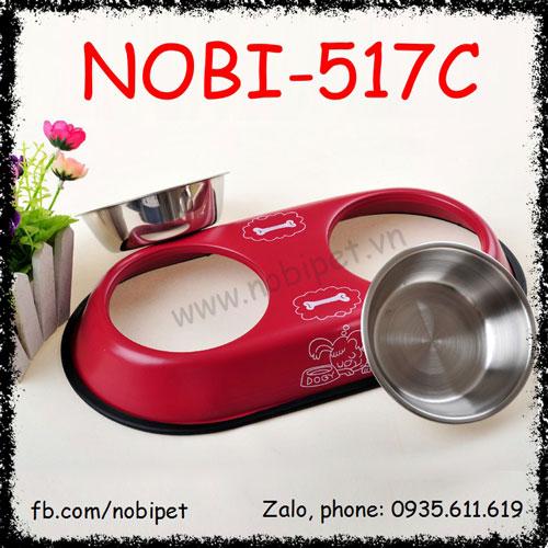 Chén Ăn Đôi Double Inox Cho Chó Mèo Cao Cấp Nobi-517C