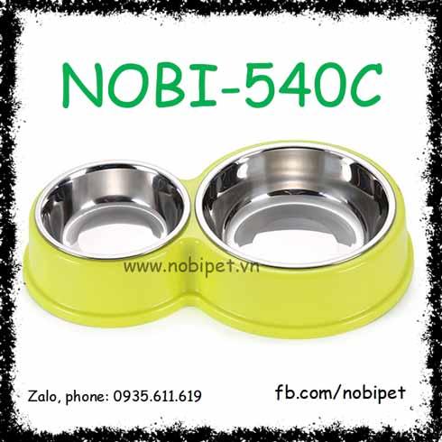 Chén Ăn Đôi Jacky Inox Đế Nhựa Cho Chó Mèo Nobi-540C