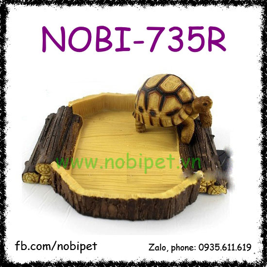 Chén Ăn Hình Gỗ Sồi Lớn Cho Rùa Dụng Cụ Nuôi Bò Sát Nobi-735R