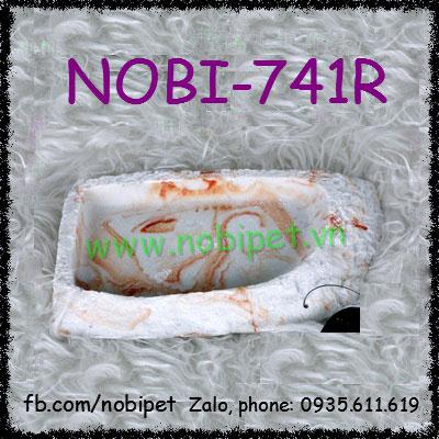 Chén Ăn Italia Hoa Văn Đá Cẩm Thạch Đỏ Cho Rùa Bò Sát Nhỏ Nobi-741R