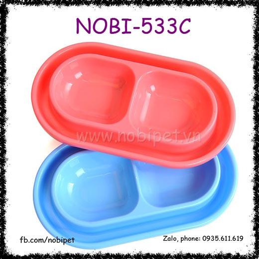 Chén Ăn Nhựa Boom 2 Rãnh Cho Chó Mèo Nobi-533C