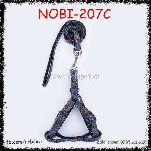 Dây Dắt Chó Jean Vải Trọn Bộ Nobi-207C