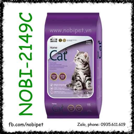 Home Cat 1.5kg Thức Ăn Hạt Cho Mèo Ngăn Búi Lông Và Hỗ Trợ Da