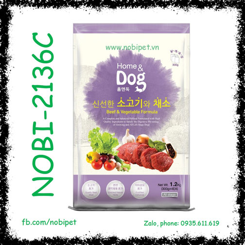 Home Dog Beef & Vegetable 1.2kg Thức Ăn Hạt Cho Chó Giảm Cân