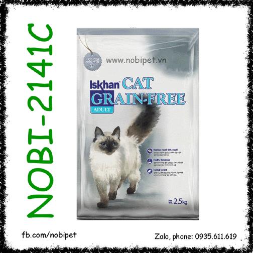 Iskhan Cat Grainfree Adult 2.5kg Thức Ăn Cho Mèo Lớn 5 Trong 1