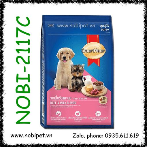 SmartHeart Puppy Beef & Milk Flavor 8kg Thức Ăn Chó Con Dưới 12 Tháng