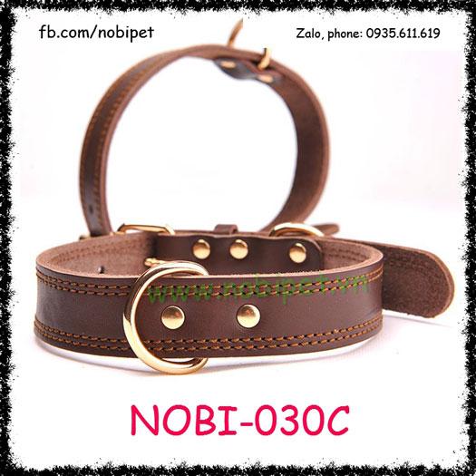 Vòng Đeo Cổ Bully Da Thật Cho Chó Trung và Lớn Nobi-030C