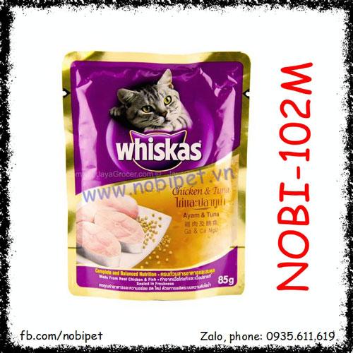 Whiskas Chicken & Tuna Pate Cho Mèo Vị Gà Và Cá Ngừ Gói 85gr Nobi-102M