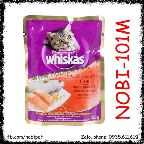 Whiskas Mackerel & Samon Thức Ăn Pate Vị Cá Ngừ Và Cá Hồi Cho Mèo Gói 85gr Nobi-101M