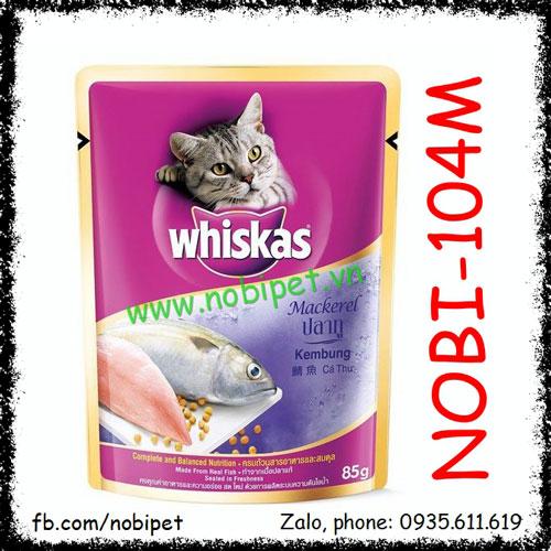 Whiskas Mackerel Thức Ăn Pate Cho Mèo Vị Cá Thu Gói 85gr NOBI-104M