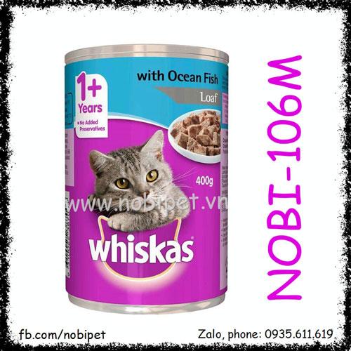Whiskas Ocean Fish Thức Ăn Pate Cho Mèo Vị Cá Biển Lon 400gr Nobi-106M