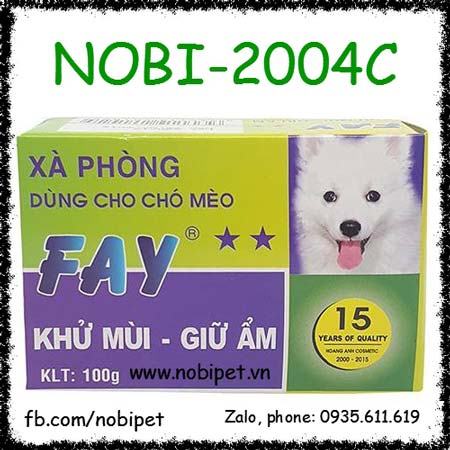Xà Bông Fay 2 Sao 100gr Tắm Chó Mèo Giữ Ẩm Da Khử Mùi Hôi Nobi-2004C