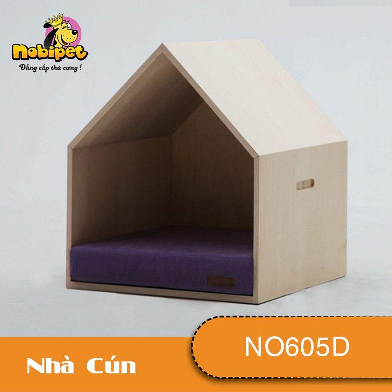 Nhà Ngủ Gỗ Lắp Ráp Chóp Lều Cho Chó Mèo NO605D