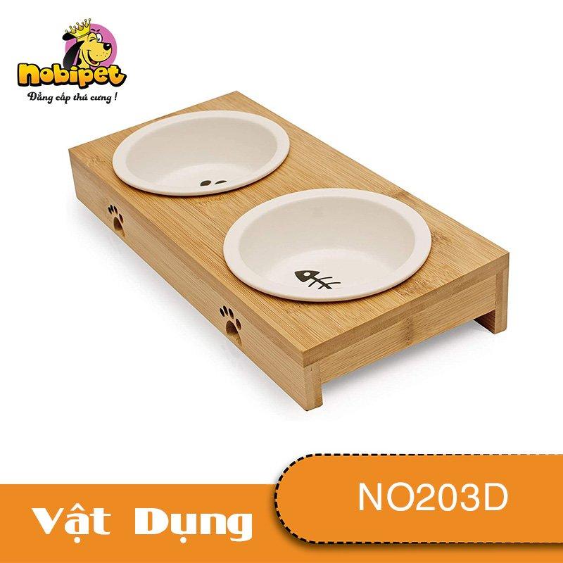 Kệ chén ăn Đôi Bát Tràng Cho Chó Mèo  NO203D