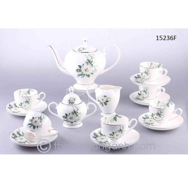 Bộ tách trà sứ xương 15236F 15pcs