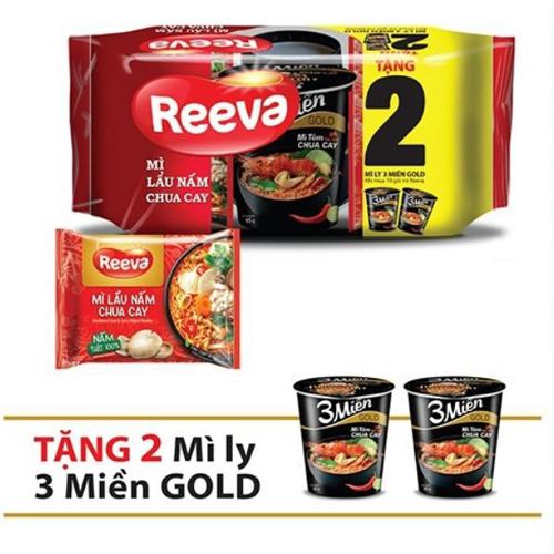 Mì Reeva lẩu nấm chua cay (10 gói + 2 cốc KM)