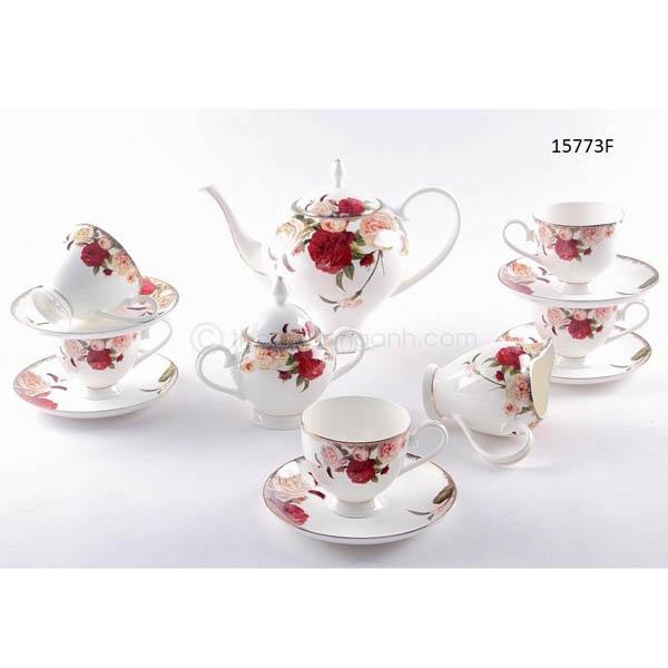 Bộ tách trà sứ xương 15773F 15pcs