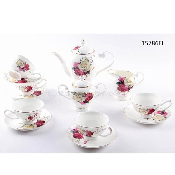 Bộ tách trà sứ xương 15786EL 15pcs