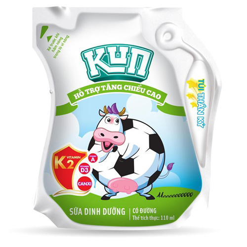 Thùng Sữa dinh dưỡng Kun có đường túi 110ml