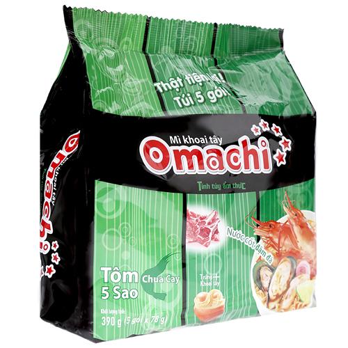 Mì khoai tây Omachi Tôm chua cay 5 sao 78g(5 gói /bịch)