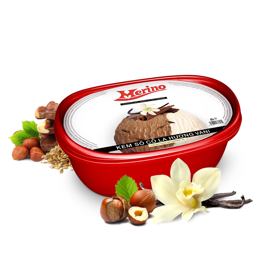Kem Hộp Merino socola hương vani 1L