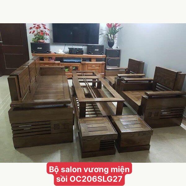 Bộ Salon gỗ Sồi vương miện OC 206SLG27
