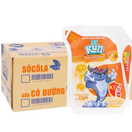 Sữa chua uống Kun hương cam 110ml (24 túi/ thùng)