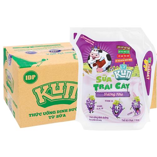 Sữa trái cây Kun hương nho 110ml (24 túi/thùng)