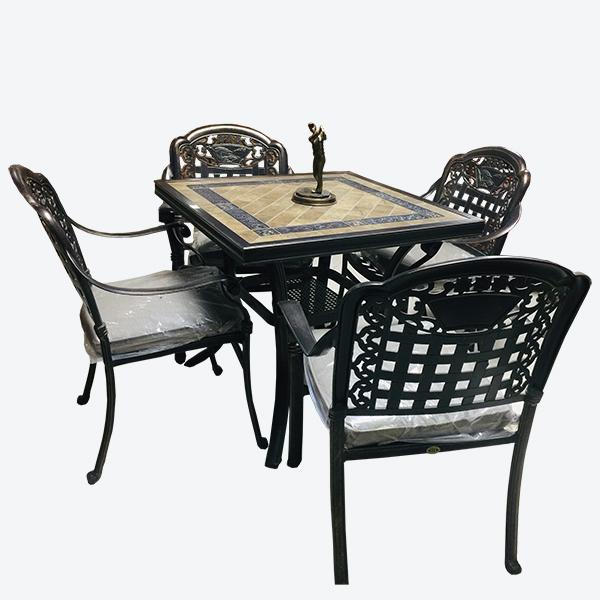 Bàn vuông chân nhôm đồng(1 bàn +4 ghế)