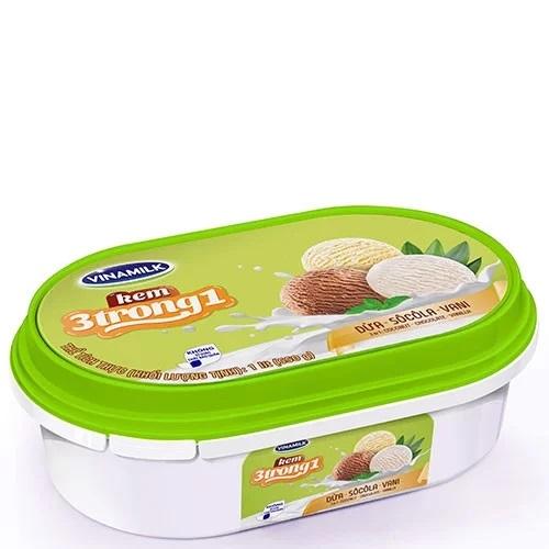 Kem Vinamilk 3in1 dừa - socola - vani Hộp 1L